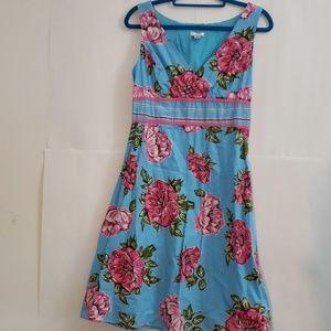 Vintage Style Floral Lapis Dress Size M